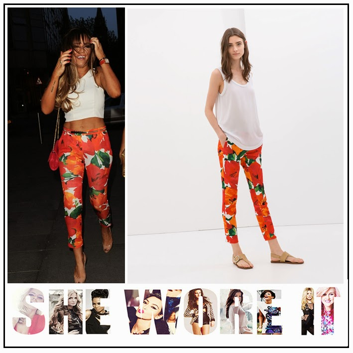 Crop Top, Cutaway, Floral Printed, Maria Fowler, Orange, Slim Fit, The Only Way Is Essex, Topshop, TOWIE, Trousers, V-Neck, White, Zara, Zip Detail,