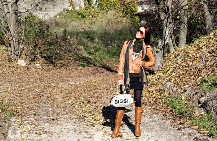 Bershka karamel braon kozna jakna braon kozne cizme