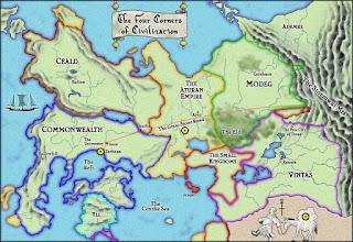 Mapa donde está ambientada la historia de Patrick Rothfuss