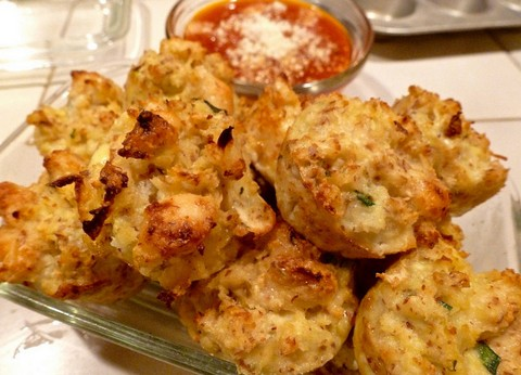 Cheesy Cauliflower Bites with Chives and Almond Meal