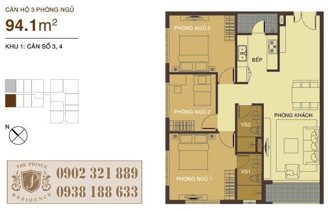 căn hộ 94m2 thiết kế 3 phòng ngủ tại The Prince Residence