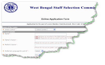 WBSSC LDC Recruitment Exam 2013 Application form