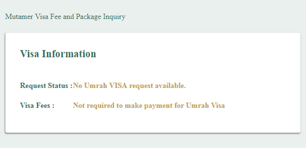 request status visa umrah and information