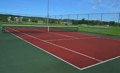 gambar bentuk ukuran lapangan tenis standar
