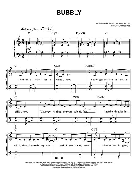 Sheet Music Paradise Bubbly Colbie Caillatpdf