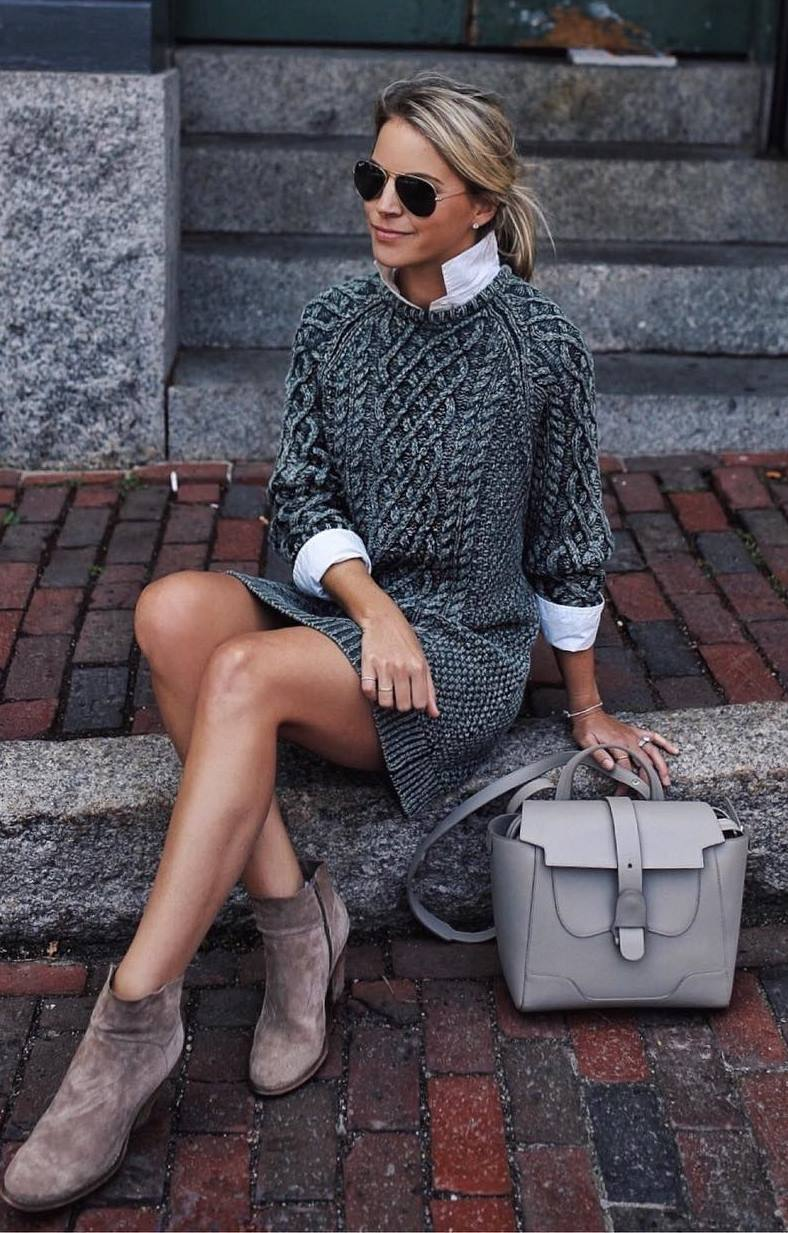 cute fall outfit idea for work : grey bag + knit sweater dress + white shirt + boots