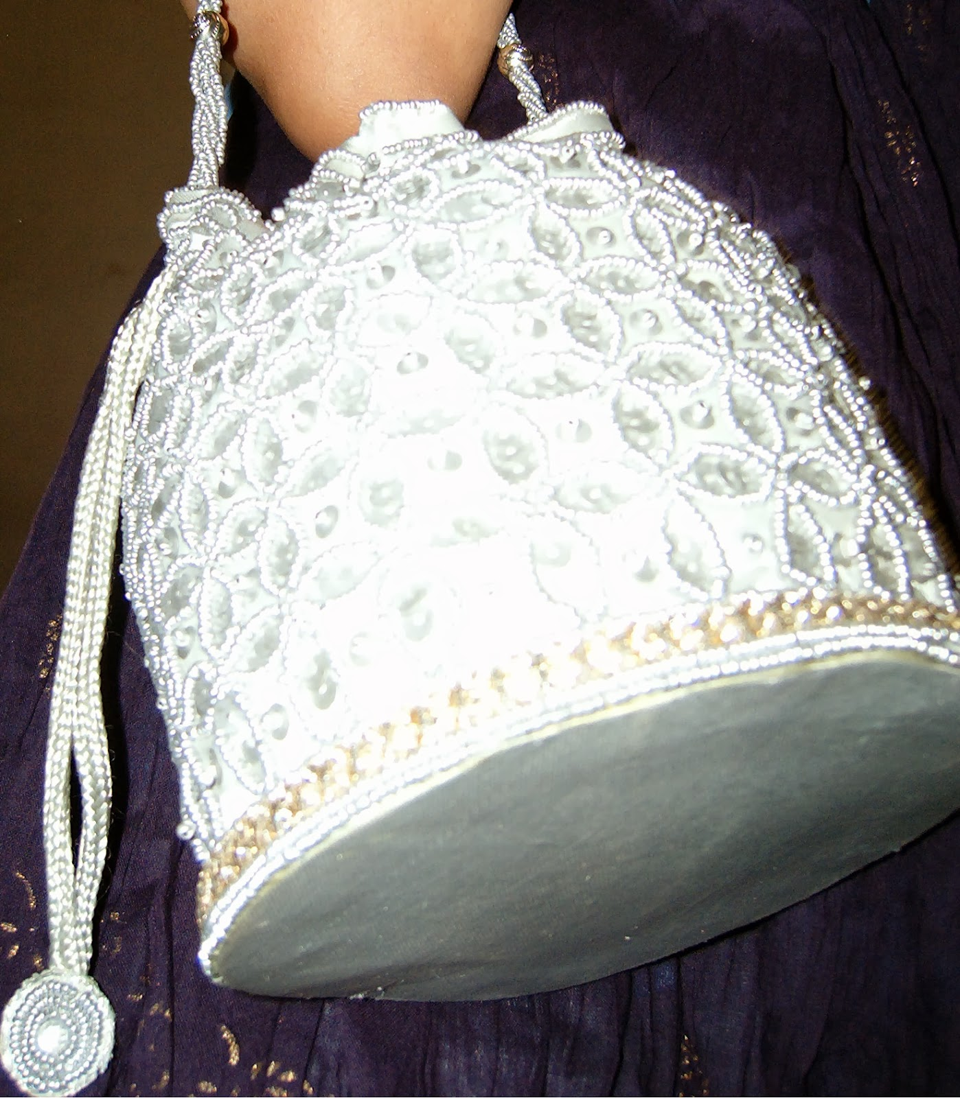 beaded silver bag, indian style purses, jhola, beaded purse