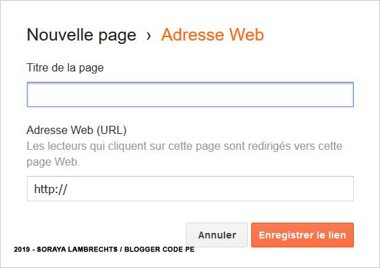 Ajouter des liens externes dans le panneau de configuration du gadget PageList
