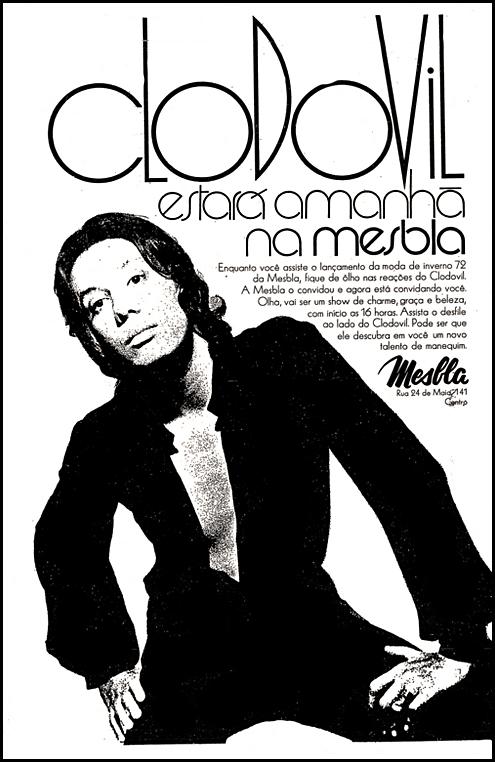 Campanha da Mesbla para promover sua coleção de moda inverno com o estilista Clodovil