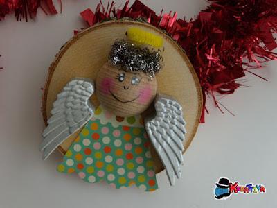 come realizzare degli Angeli di natale con dischi di legno
