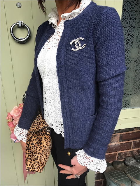 My Midlife fashion, chanel brooch, zara lace jacket, j crew sailor cropped trousers, zara leopard print bag, navy block heel ankle boots
