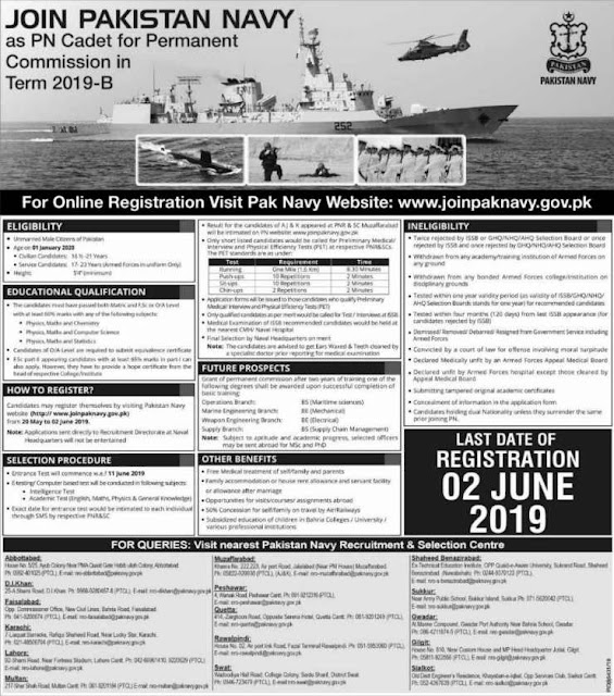 Join Pak Navy as PN Cadet 2019 B For Permanent Commission Apply Online