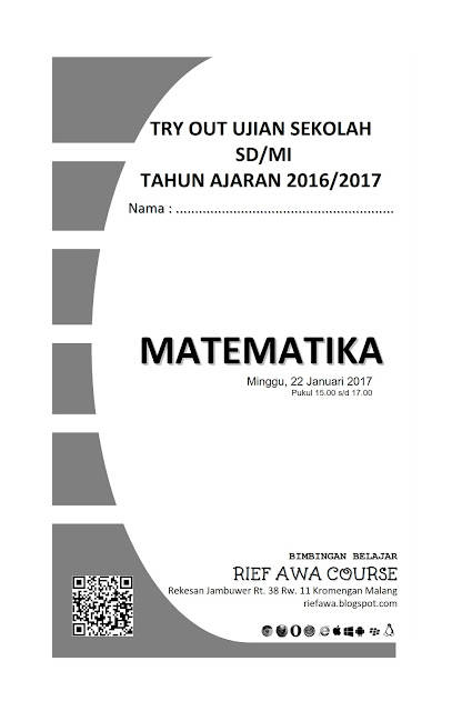 Download Soal Try Out Ujian Sekolah Sd Mi Matematika Tahun 2017 Rief Awa Blog Download