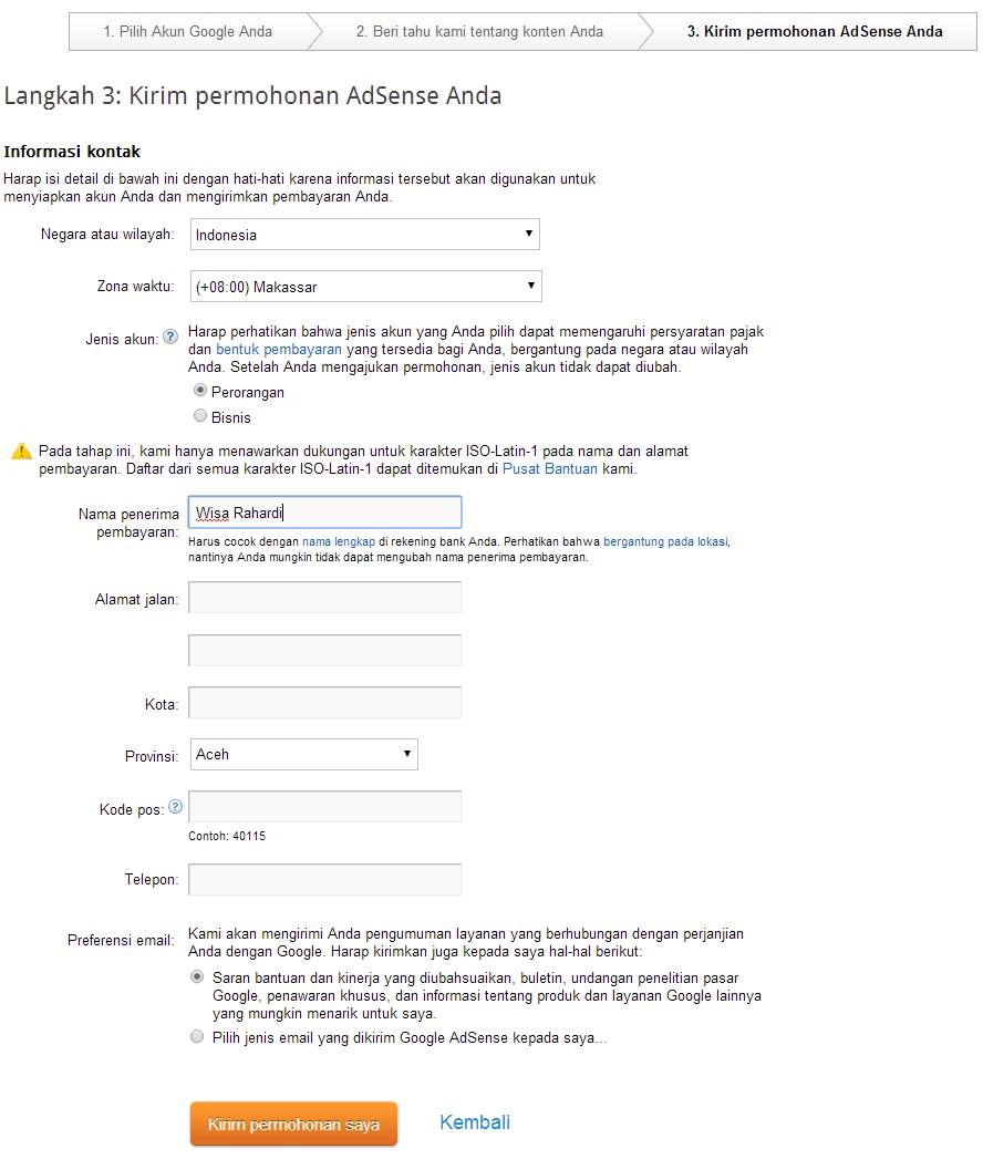 cara  Daftar Google Adsense Langsung Dari Blogspot