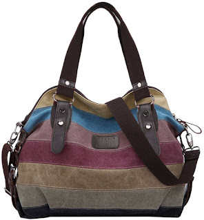 DEALS Coofit MultiColor Striped Canvas Totes Handbag Womens Hobos Shoulder Bags £15.21 Deals End 11:15 Friday, 24 March 2017