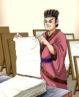 Cai Lun Penemu kertas pertama kali di dunia dari serat tumbuhan yang dipack sedemikian rupa menjadi kertas