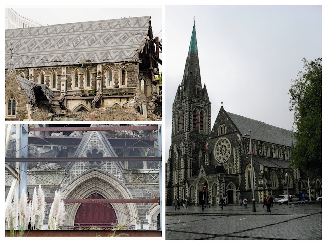 2 Weeks in New Zealand Itinerary for 2nd time visitors: Christchurch Cathedral before and after the earthquakes