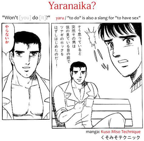 Yaranaika? meme origin, a gay porn manga called Kuso Miso Technique くそみそテクニック