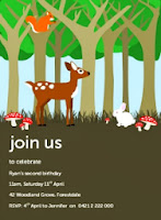 wonland scene birthday party invitation for kids with deer, bunny rabbit, squirell, toadstools, mushrooms, trees