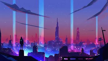 Sci-Fi, City, Night, Digital Art, 4K, #4.2035