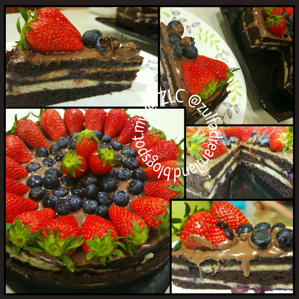 ZULFAZA LOVES COOKING: Kek Keju Blueberry Lapis Coklat