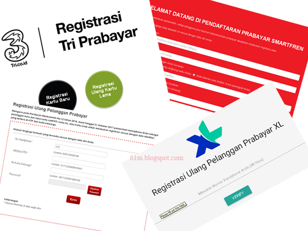 Website Registrasi Ulang Kartu Prabayar \/ Sim Card Telkomsel Simpati, AS, XL, Three \/ Tri