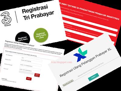 semua pelanggan operator seluler di Indonesia diwajibkan untuk melaksanakan registrasi kartu Website Registrasi Ulang Kartu Prabayar / Sim Card (Telkomsel Simpati, AS, XL, Three / Tri, Smartfren, Indosat, Axis)