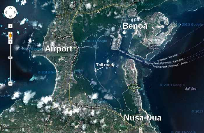 Nusa Dua-Benoa-Airport road toll has now appear in Google Eart