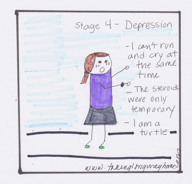 stage 4: depression. I can't run and cry at the same time. the steroids were only temporary. i am a turtle