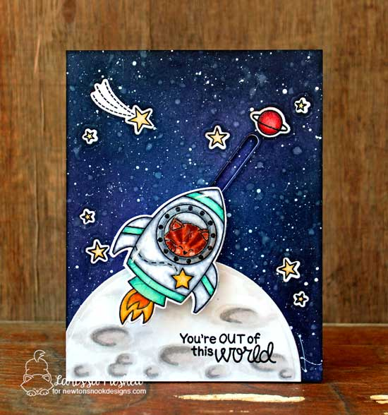 Space Cat light up card by Larissa Heskett | Cosmic Newton Stamp set by Newton's Nook Designs with Chibitronics lights | #newtonsnook #chibitronics