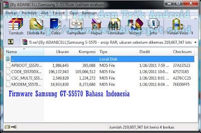Firmware Samsung GT-S5570 Bahasa Indonesia