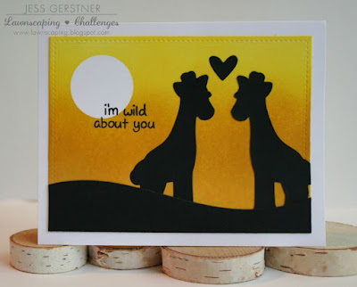 Sunset Silhouette Card using Lawn Fawn dies and Distress Ink by Jess Gerstner