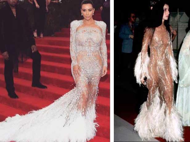 Kim Kardachian e Cher  par de jarros / vasos, vestido