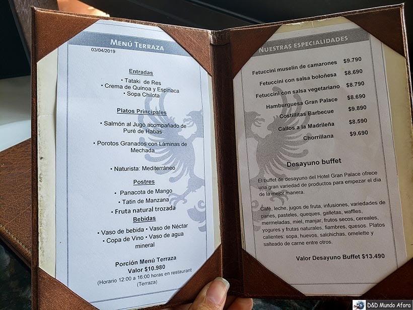 Menu do restaurante do Hotel Gran Palace em Santiago - Diário de Bordo Chile: 8 dias em Santiago e arredores