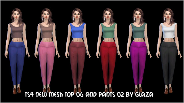 ts4 new mesh Top 06 and pants 02 by glaza