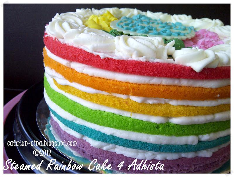 Resep Rainbow Cake Kukus Istimewa: STEAMED RAINBOW CAKE FOR ADHISTA