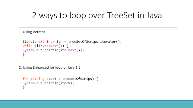 How to loop over TreeSet in Java with Example