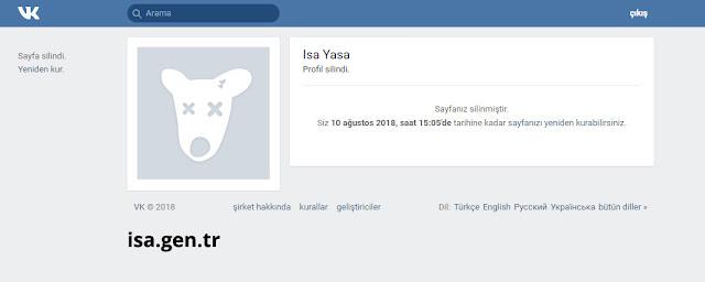 Vkontakte üyeliği iptal et, dondurma