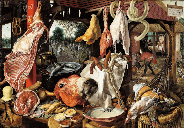 Pieter Aertsen, A Meat Stall with the Holy Family Giving Alms, 1551