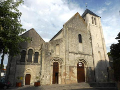 front of Abbey church of Notre-Dame in Beaugency