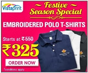 Festival Offer: Get Customized White Colour Polo TShirt worth Rs.550 for Rs.325 Only (Rs.55 extra for Blue or Brown) Hurry!! Limited Period Offer