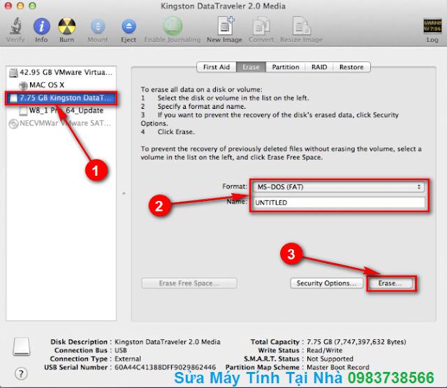 Hướng dẫn Format USB trong Mac OS X