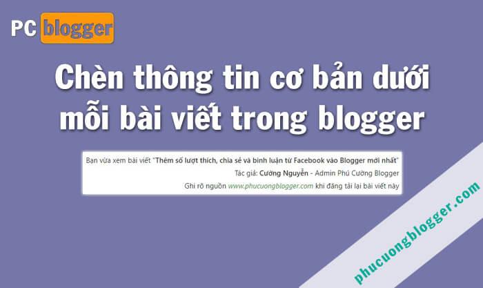 Chèn thông tin cơ bản vào cuối mỗi bài viết trong blog