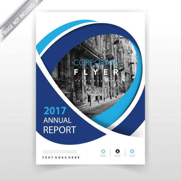 Blue wavy annual report booklet Free Vector