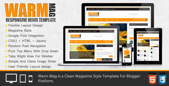 WarmMag - Themeforest Premium Responsive Blogger Template