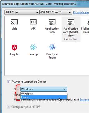 Visual Studio - Nouveau Projet - Choix du .NET Core 2.1 - Activer le support de Docker