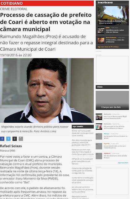 Possível cassação do prefeito de Coari ganha destaque no Jornal A Crítica