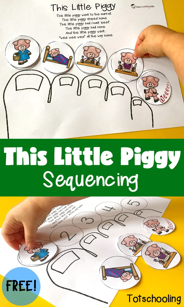 photograph regarding Sequencing Pictures Printable known as This Small Piggy Sequencing Totschooling - Baby