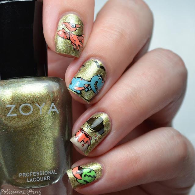 dinosaur nail art