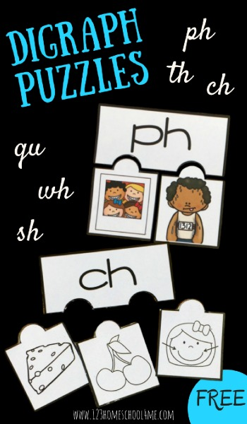 FREE Digraph Puzzles - th, wh, sh, ch, qu, ph perfect for helping Kindergarten and first grade practice identifying digraphs in words (spelling, reading, centers, homeschool). Includes options to print in color or black and white!